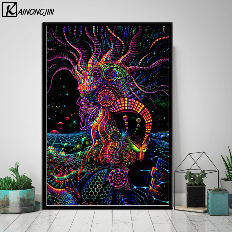 Us 1 98 27 Off Psychedelic Trippy Poster Blacklight Paintings Abstract Posters And Prints Canvas Painting Wall Art Picture For Room Home Decor In