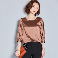 J40249 Women Shirt Solid Color Irregular Loose Big size Women O Neck Shirt Factory Wholesaler