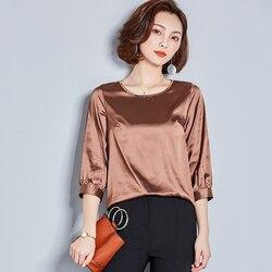 J40249 camisa de mujer de Color sólido Irregular suelta talla grande mujeres cuello redondo camisa mayorista de fábrica