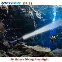 NKTECH DF T2 Portable 5000LM CREE XM L2 LED Waterproof Torch Flashlight Light Scuba 100m Underwater