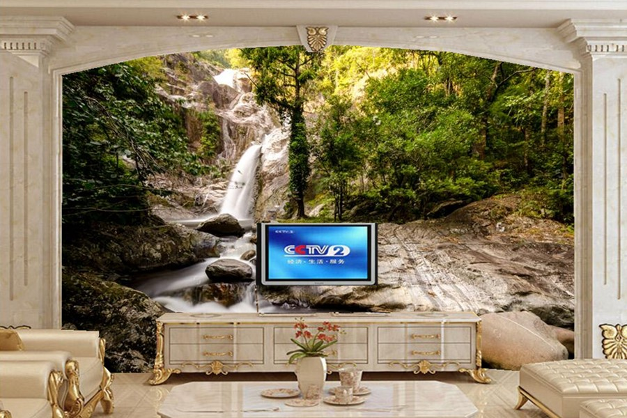 Custom wall murals nature,A waterfall in the jungle papel de parede,living room TV sofa wall bedroom wallpaper for walls 3d custom photo wallpaper london skyline murals for the sitting room the bedroom tv sofa wall waterproof vinyl papel de parede