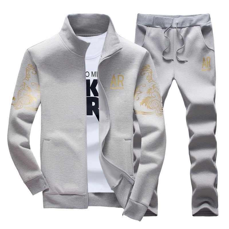 Trajes de ropa deportiva para hombre primavera otoño Casual chándal para hombre conjuntos de moda dos piezas estampado sudadera chaqueta + pantalones traje de pista para hombre