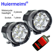 2Pcs Motorcycle LED Headlight LED Motorbike Spotlight Headlamp 12V 60W U2 Motor Spot Head Lights 6000K Driving Auxiliary Lamp(China)