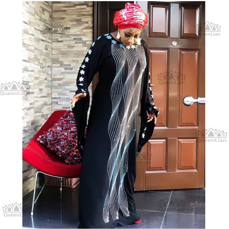 2019 New AFrican Design Bazin Chiffon  Long Stick Diamond  SLeeve Dashiki Dress For Lady Length:140cm Wide:115cm(zuan#)