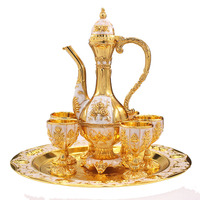 OUSSIRRO Russian Luxury Metal Hanging Wine Set Rack Wine Cup Holder Fashion Exquisit Castle pattern cup table decoration