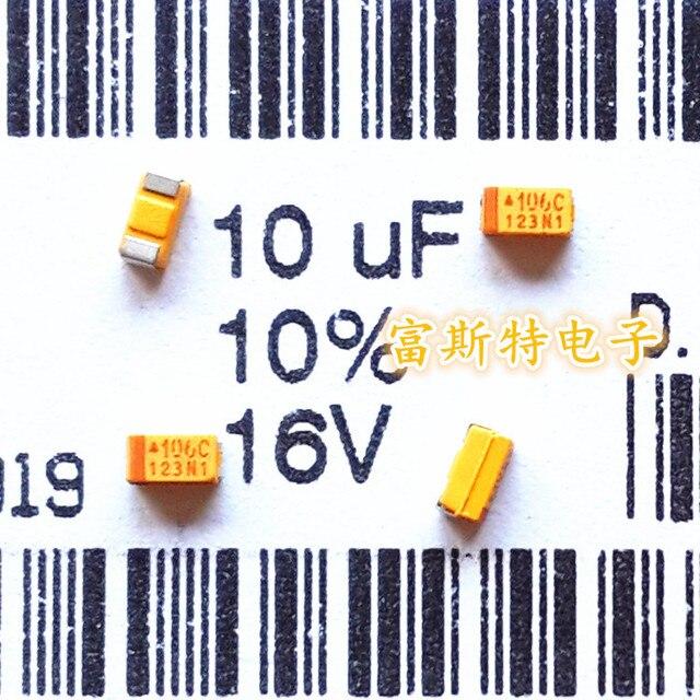 100 PÇS/LOTE 106C SMD tântalo capacitores 10 UF 16 V C 6032/C Polaridade 16V10UF