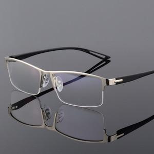 Image 4 - Armação de óculos em liga de titânio tr90, armação masculina sem aro e quadrada, para óculos de grau para miopia