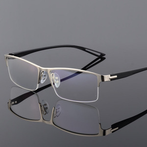 Image 4 - TR90 Titanium Alloy Glasses Frame Men Semi Rimless Square Eye Glass Prescription Eyeglasses Myopia Optical Frames Korean Eyewear