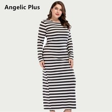 Plus size Long Dress Elegant Striped Vintage