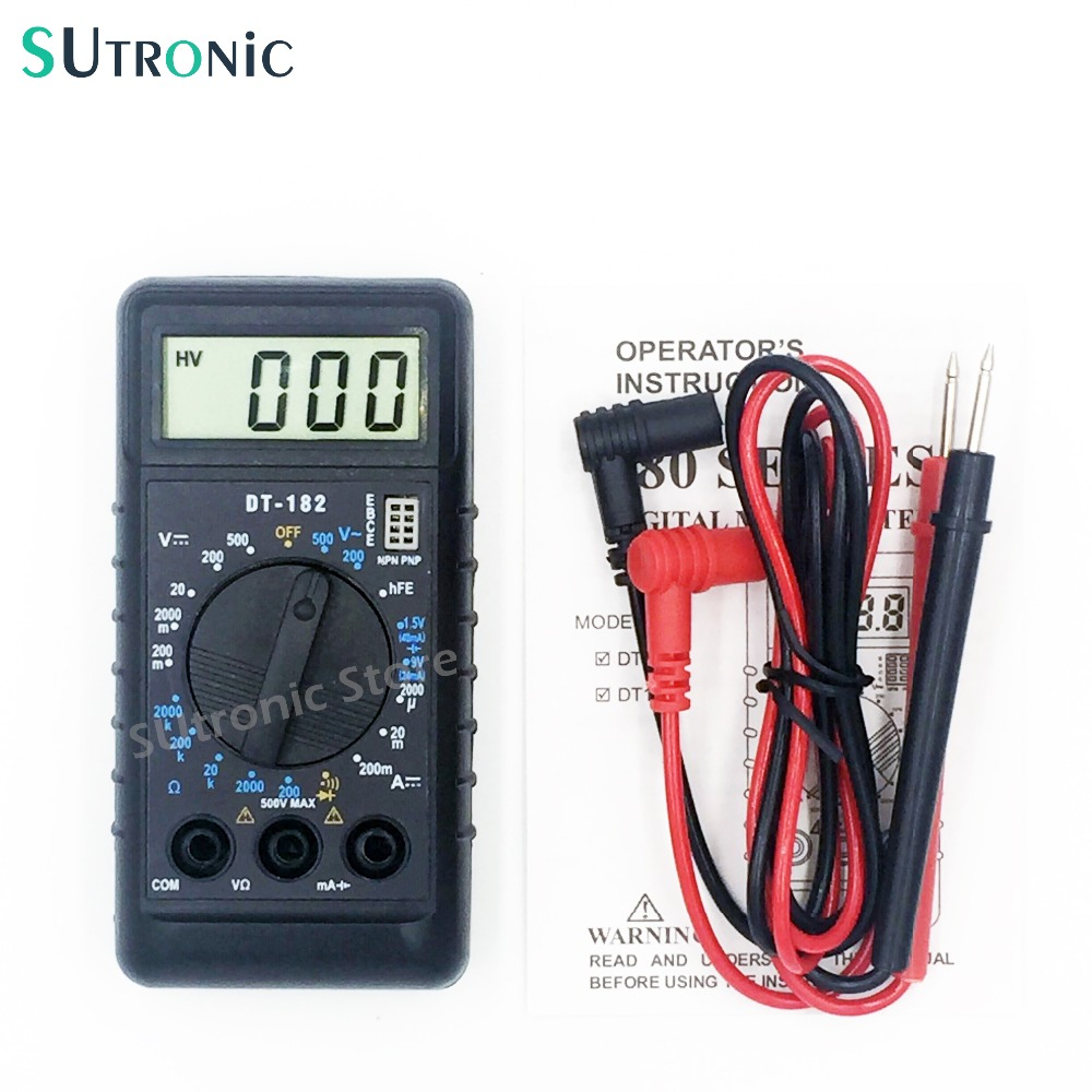 цены  DT182 Extra Mini Digital Multimeter with Buzzer Overload protection Pocket Voltage Ampere Ohm Meter DC AC LCD Portable