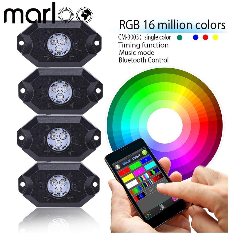 Marloo Car Multi Color Changing Led Rgb Rock Lights 4 Or 8