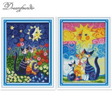 Gatos y el sol contaron punto de cruz DMC color DIY 11CT 14CT 18CT algodón seda varios cuadros costura bordada a mano plus(China)