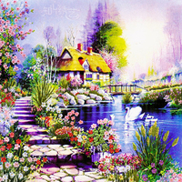 Needlework DIY Ribbon Cross Stitch Sets For Embroidery Kit Garden Lake Flowers Landscape Bands Embroidery Wedding