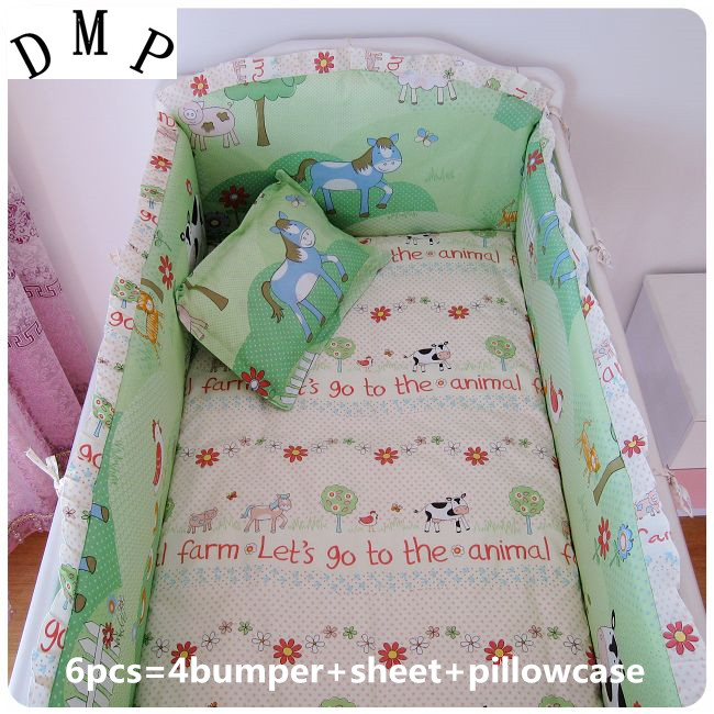 Promotion! 6pcs baby crib bedding sets,cotton toddler cot bedding sets ,include (bumpers+sheet+pillow cover) ...