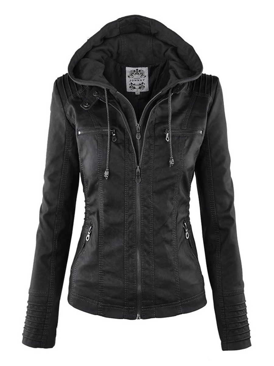 Gothic faux leder Jacke Frauen hoodies Winter Herbst Motorrad Jacke Schwarz Oberbekleidung faux leder PU Jacke 2018 Mantel HEIßER