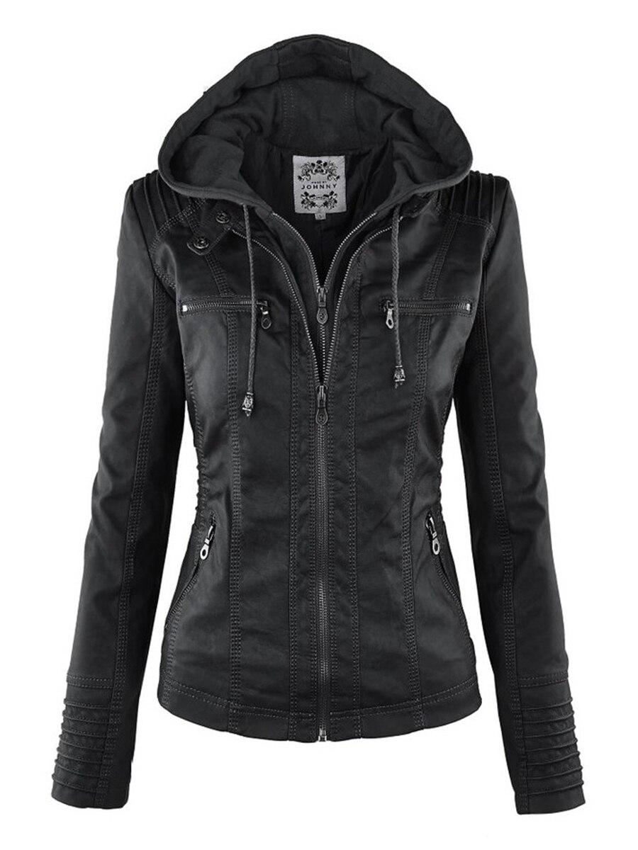 Jaqueta de couro falso gótico Mulheres hoodies Outono Inverno Motocicleta Jaqueta Preta Outerwear falso Casaco de couro PU Jaqueta de 2018 QUENTE