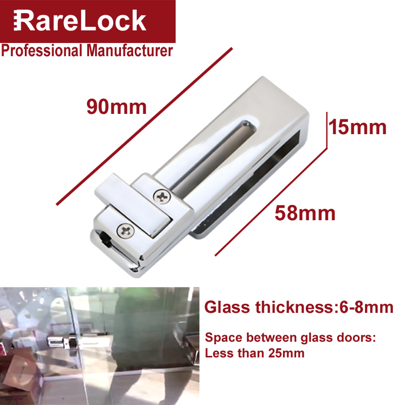 Купить с кэшбэком Bathroom Glass Sliding Door Lock for Home Shower Room Balcony Baby Safety Accessories No Drilling Require DIY Rarelock MS519 h