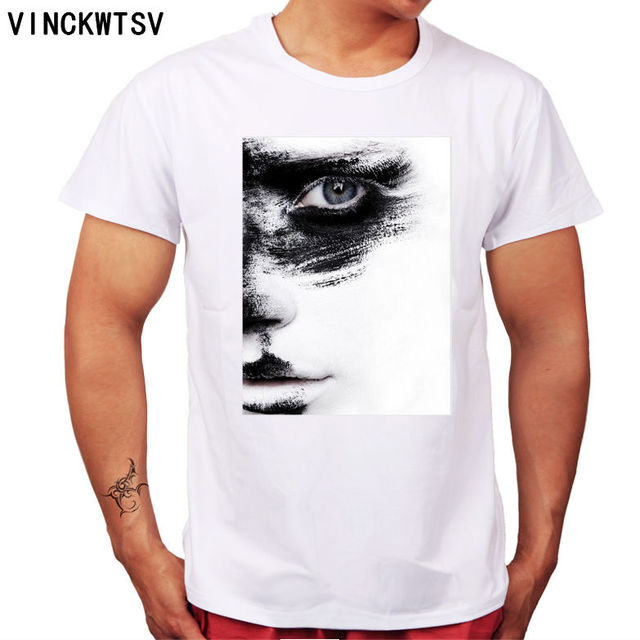 97cbad93be43 VINCKWTSV Abstract art of painting Half face white face black printing cool  design man summer wear streetwear tee