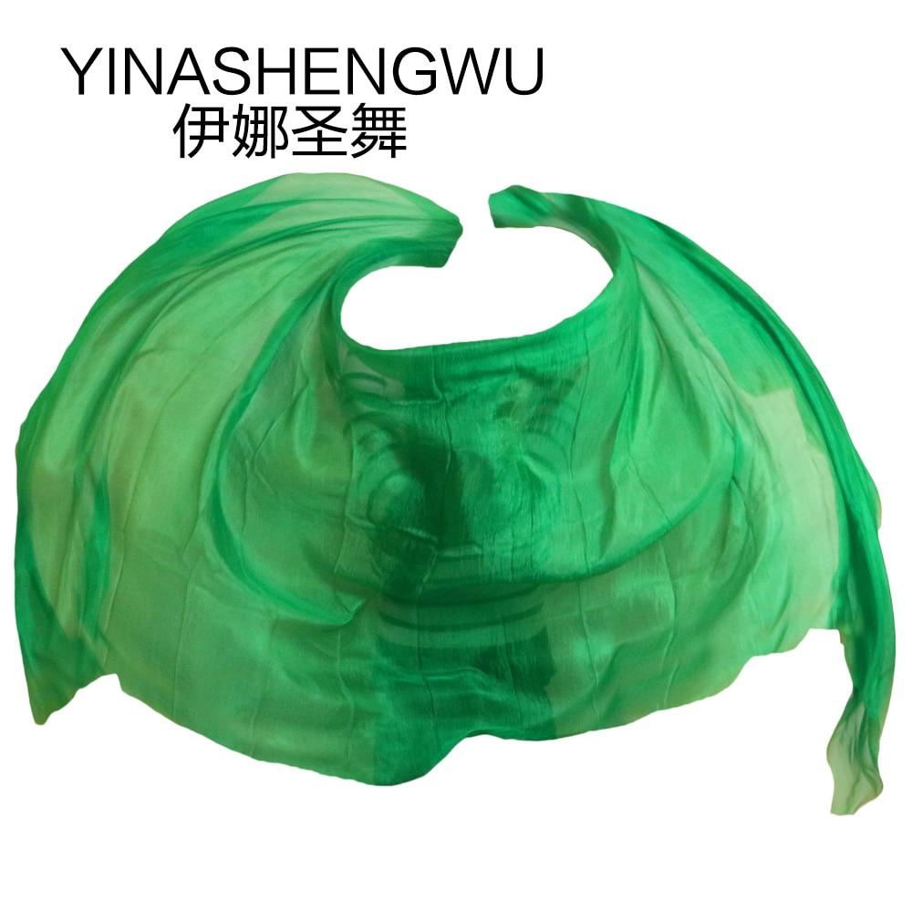Di alta Qualità Da Ballo veli Veli Danza Del Ventre Puntelli di Ballo Veli Di Seta Fatti A Mano di Seta Naturale Puro di Colore verde