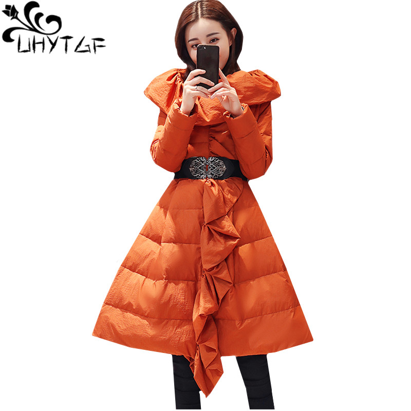 UHYTGF New Winter Jacket Women Thin and light luxury Skirt Style Down Jacket Warm coat Lotus leaf collar Parka Cotton Coats 985