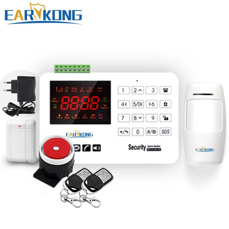 Earykong GSM système d'alarme capacitif tactile clavier couleur écran invite vocale anglais russe espagnol porte aimant PIR détecteur