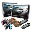 """2*10.1 """"Botão de toque Encosto de Cabeça Do Carro DVD Player HD de Tela 1024*600 HDMI Jogo encosto de cabeça DVD USB SD IR transmissor Portátil monitor de"""