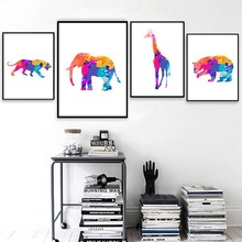Elephant Lion Giraffe Bear Wall Art Canvas Painting Geometric Animal Nordic Posters And Prints Pictures For Living Room