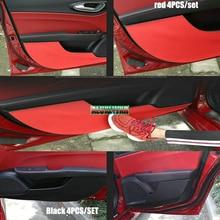 car-styling Microfiber leather Door Plank Protective Anti Kick Film Sticker fit for alfa romeo Giulia 2017 car Accessories 4PCS