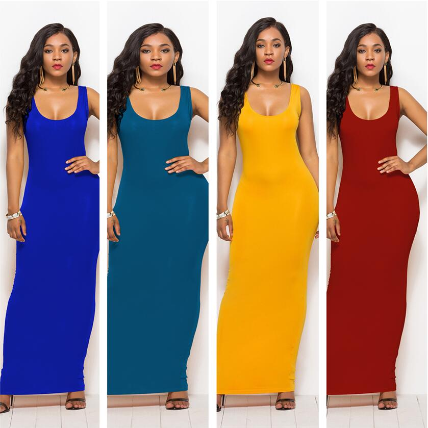 S-3XL High Stretch Tank Robe Spring Summer 2020 Casual Women Sexy Dress O-neck Sleeveless Maxi Dress Thin Long Dress Vestidos