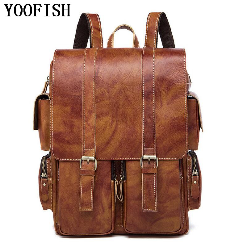 YOOFISH Luxury Genuine Leather Male Backpacks Vintage Style Simple Designer Man School Bag Fashion Student backpack Travel bag men original leather fashion travel university college school book bag designer male backpack daypack student laptop bag 9950