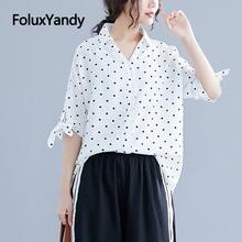 цена на Oversize Blouses Women Polka Dot Half Sleeve Loose Plus Size White Summer Blouse Shirt NQYL101