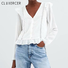 2019 New White Blouses Woman Sexy V Neck Long Sleeve Womens Tops Elegant Slim Hollow Out Summer