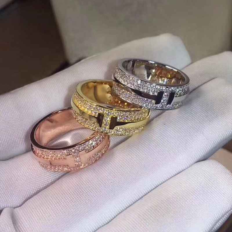 newbark high quality big cz half eternity rings rose gold and silver color prongs crown wedding jewelry rings for women Hot Brand Pure 925 Sterling Silver Jewelry For Women Wedding Rings Gold Color Jewelry Big Wide Grid T Rings Top Quality 6789