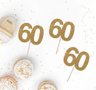 custom number glitter 60th 70th 80th birthday cupcake toppers