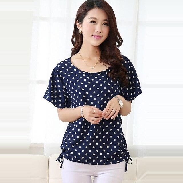 1fb132e94e2f Summer Style Blouse Shirt Women Blouses Feminines Polka Dot Print Blouse  Bat Sleeve Plus Size Women