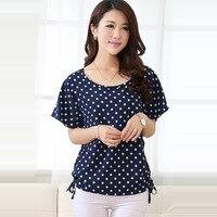 Korean Plus Size Summer 2015 Women Clothing Polka Dot Print Blouse Bat Sleeve Tops Female Chiffon