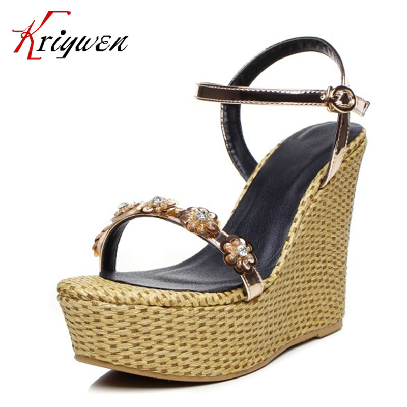 Summer 2017 new arrival wedges sandals bling high heels woman shoes buckle strap concise dating PU flower crystal women shoes phyanic gold silver wedges sandals 2017 new platform casual shoes woman summer buckle creepers bling flats shoes phy4040