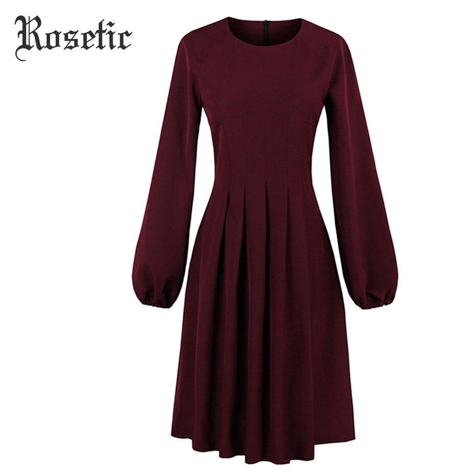 Rosetic Gothic Kleid Vintage Burgund Frauen Herbst Laterne Ärmel - Damenbekleidung - Foto 5