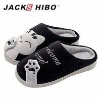 JACKSHIBO Erkekler Peluş Düz Topuk Terlik ile Kedi Desen Kış Ev Terlik erkek Terlik Sıcak Kapalı Slayt Ayakkabı zapatos hombre