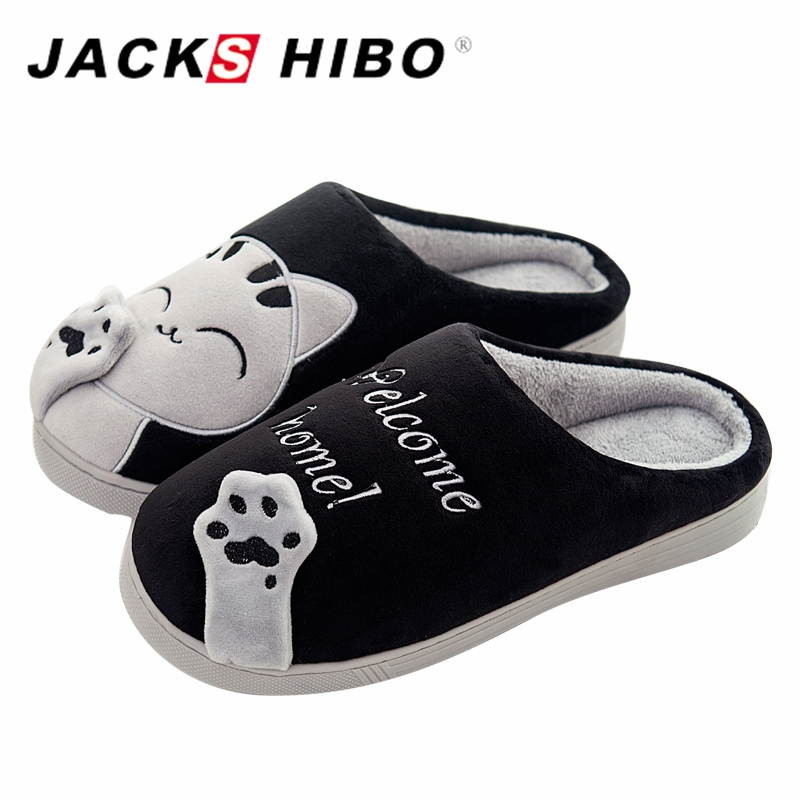 JACKSHIBO Men Slippers Cat Pattern Winter Home Slippers with Plush Flat Heel male Slipper Warm Indoor Slide Shoes zapatos hombre plush casual suede shoes boots mens flat with winter comfortable warm men travel shoes patchwork male zapatos hombre sg083