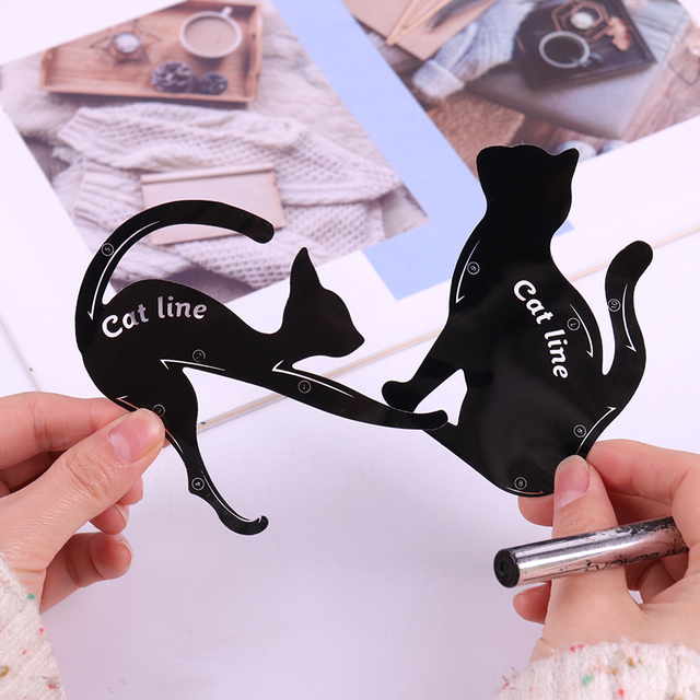 2PCS/set Women Cat Line Pro Eye Makeup Tool Eyeliner Stencils Beauty Eyebrow Template Shaper Model women girl 5