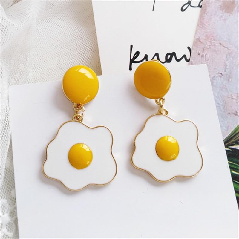 Fashion Creative Personality Beautiful Stud Earrings Popular Wacky Earrings Temperament Yolk Stud Earrings For Women Jewelry
