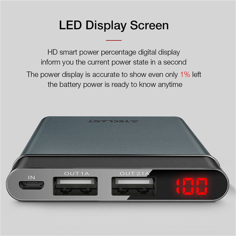 bilder für Original teclast t100uc-n 10000 mah power 2.1a dual-eingang ultradünne dunkelgrau power usb typ c & micro unterstützungsenergien