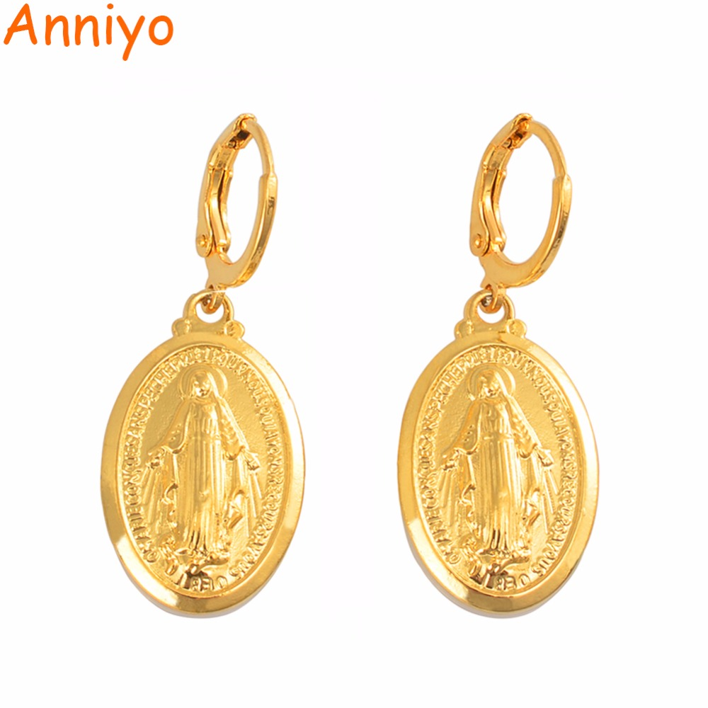 Anniyo Virgin Mary Earrings Gold Color Trendy Religious Jewelry Gifts Wholesale