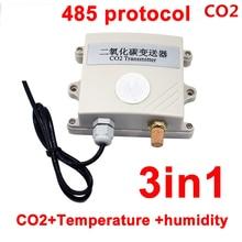 RS485 3in1 CO2 وحدة الاستشعار CO2 الارسال ثاني أكسيد الكربون للكشف عن الغاز الاستشعار co2 485 بروتوكول مع درجة الحرارة والرطوبة