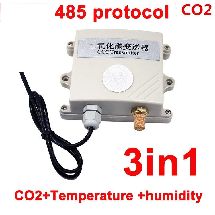 RS485 3w1 moduł czujnika CO2 nadajnik CO2 detektor dwutlenku węgla czujnik gazu co2 485 protokół z temperaturą i wilgotnością