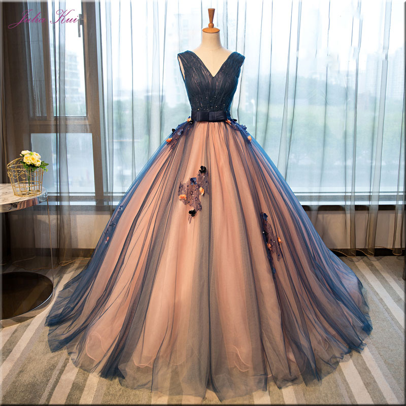 Julia Kui Silky Tulle V-Neck Ball Gown Quinceanera Dresses Beading Appliques Sleeveless Lace Up Elegant Formal Dresses Customize(China)