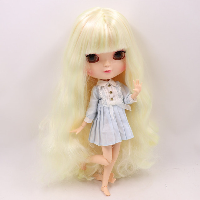 1/6 ICY nude doll small chest Joint body light blond mix light pink hair hair No.6025/1017 30CM F&D free shipping