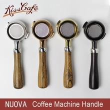 Stainless Steel Coffee Machine Bottomless Filter Holder Portafilter italian Walnut Handle For Nuova Professional Accessory