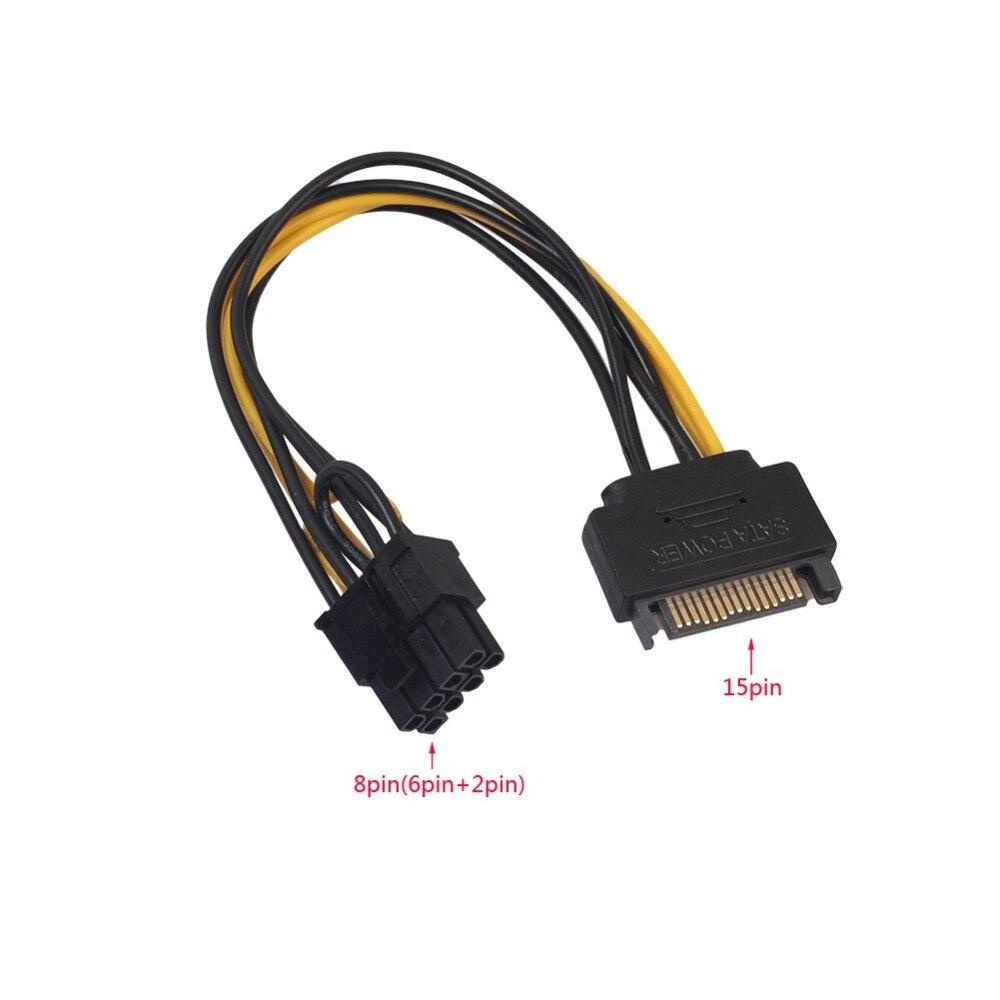 20 см один SATA 15pin до 8pin (6 + 2) Powr Кабель-адаптер PCI-E SATA кабель питания 15-pin до 8 pin Кабели
